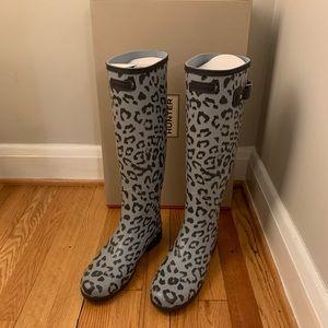 Hunter Leopard Print Tall Waterproof Rain Boot New